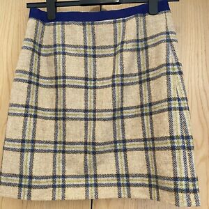 Boden Ladies Wool Skirt Size UK10 British Tweed by Moon Lined Beige Checked