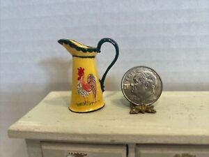 Vintage Artisan Hand Painted Quimper Metal Pitcher Dollhouse Miniature 1:12 EUC