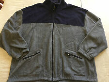 mens XL FLEECE JACKET fall spring winter NAVY GRAY zipper coat WARM clean ZIP