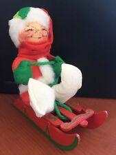 """1957 1983 Annalee Doll Figure 6"""" Kid Child On Sleigh Sled Christmas Santa Suit"""