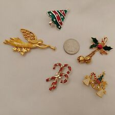 Lot of 5 Christmas Pins Xmas Tree Angel Horn Candy Cane Holly Brooch Gold Silver