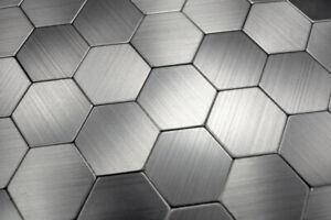 Handmuster Mosaikfliese selbstklebend Aluminium silber metall Hexagon metall ...