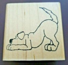 Jane Miller Dog on the Trail Sniffing Wood Mounted Rubber Stamp