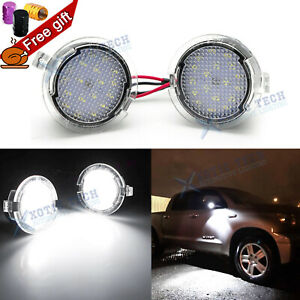 White LED Side View Under Mirror Puddle Lights For Toyota Tundra Sequoia 2007+