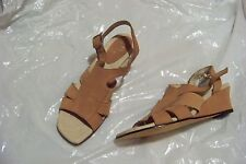 womens ros hommerson camel suede leather strappy wedge heels 6