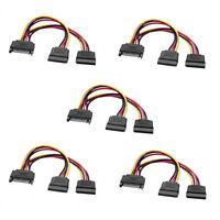 5x 20cm Internes PC Y-Stromkabel SATA Kupplung Verteiler zu 2x SATA Stecker