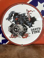 """VINTAGE """"DARTH FINK''  GAS & OIL PLATE HEAVY PORCELAIN SIGN 12 INCH MADE IN USA"""