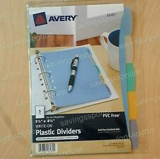 Avery Write On Plastic Dividers 5 Tabs Set 55 X 85 7 Hole Assorted 5pk