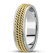 New Ladies 14k Two-Tone Gold Hand Woven Rope Style Wedding Band Ring 7mm Size 6