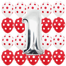 First Birthday Red Polka dots Minnie Mouse 1st b-day Party Balloons Decorations
