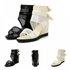 Gladiator Summer Womens Ankle Boots Mesh Open Toe Med Wedge Heel Sandals Shoes L