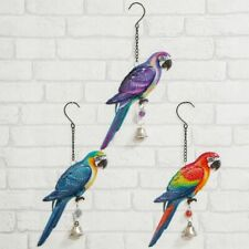 Set of 3 Colourful Hanging Metal Parrot Wall / Garden Decorations / Ornaments