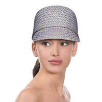 Authentic NWT Eric Javits Fashion Designer Women's Hat - Mondo Cap in Blue