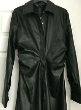 Zara Black Faux Leather Midi Dress Size S, M L Influencer Fave. ~ SOLD OUT