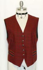 RED GREEN PLAID ~ WOOL Women Austria Winter Riding Dress Skirt Coat VEST 40 10 M