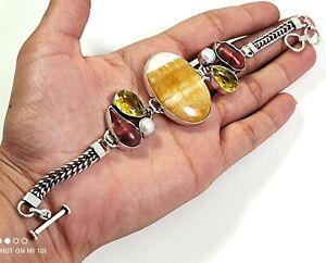 Yellow Aventurine Red Biwa Pearl Citrine Gemstone Jewelry Silver Bracelet B-549