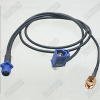 """Fakra C Male Blue to SMB Female RA SMA Male Y Pigtail Combined Cable RG174 20"""""""