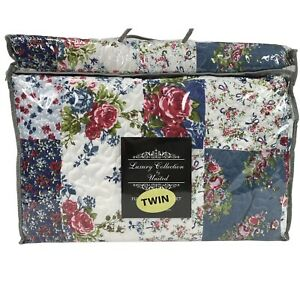 "EASTON REVERSIBLE FLORAL / ROSES PATCHWORK PRINT TWIN QUILT & SHAM SET 68"" X 86"""
