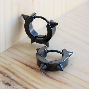 Punk Hip Hop Huggie style Black Titanium Steel Spike Stud Hoop Earrings