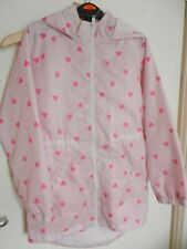 Pink  (LOVE HEARTS) GIRLS RAINCOAT size 9 years