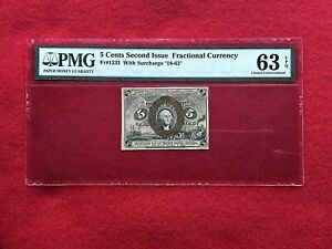 FR-1233 Second Issue 5c Five Cent Fractional Currency *PMG 63 EPQ CHOICE UNC*