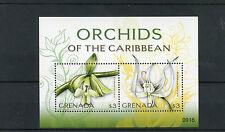 Grenada 2009 MNH Orchids of Caribbean 2v S/S Flowers Flora Epidendrum Brassavola
