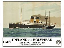 TRAVEL TRANSPORT IRISH SEA FERRY KISH BOAT SHIP HOLYHEAD IRELAND POSTER LV4386