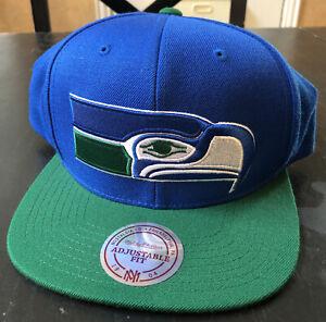 Mitchell & Ness NFL Seattle SeaHawks 2 Tone Team Logo Retro Snapback Cap Hat