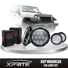 "7"" 75W CREE LED Headlights DRL with Turn Signal Tail Light Combo For 07-17 Jeep"