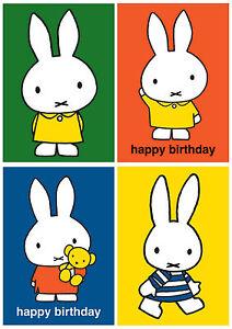 New Dick Bruna's Miffy Rabbit Cute Kwaii Retro Greeting Card Birthday Blank Xmas