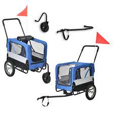 Fahrradanhänger 2 in 1 Anhänger Jogger Hundeanhänger Hunde Transport Blau