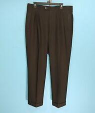 Zignone Pleated & Cuffed Dress Pants Brown Size 36x31