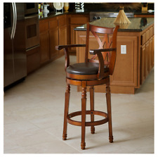 NEW Brown Wood Armed Swivel Barstool Wet Bar Height Kitchen Modern Home Decor 29