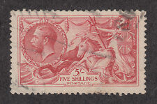 Great Britain Sc 180 used 1918 5sh carmine rose Kgv & Seahorses, Vf