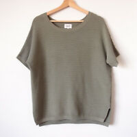 SEED Size 8,10,12 Khaki Green Oversize Rib Knit Short Sleeve Top Blouse Casual