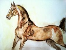 horse art painting signed,watercolor  on paper,equine,equestrian,animal 7x5