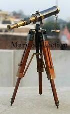 "Antique 10"" Telescope Antique Finish Vintage Brass Nautical With Wooden Tripod"