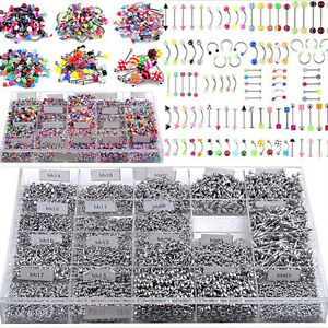 AC_ 105 PCS BULK LOTS BODY PIERCING EYEBROW JEWELRY BELLY TONGUE BAR RING ELEGAN