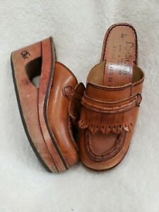 70s Qualicraft vintage wooden demi wedge clogs 6 Leather boho Hippie Women