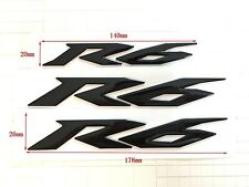 New R6 Emblem Raised 3D Yamaha YZF600 YZF-R6 Black Decal Fairing Sticker