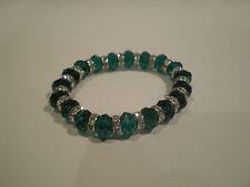 Beautiful Green Crystal & Diamonte / Diamante Stretchy Bracelet - NEW!!