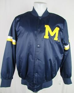Michigan Wolverines Men's NCAA Blue Starter Snap Up Jacket Size Large