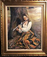 Natalie Liebmann (USA,1924 - 2010) Oil on Canvas,1970's Young Lady Playing Flute