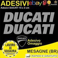 2 Adesivi Sticker DUCATI serbatoio 916 996 998 999 748 PANIGALE FACTORY ARGENTO