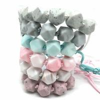 BPA Free Hexagon Silicone Beads Teething Necklace Baby Sensory Jewellery Teether