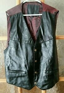 """Vintage Black Real Leather Waistcoat Biker Country Western Size L - Chest 42"""""""