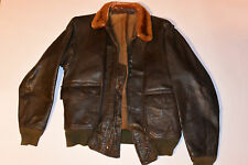 VINTAGE USN GOATSKIN LEATHER G1 MILITARY FLIGHT JACKET! MOUTON FUR COLLAR! G-1 S