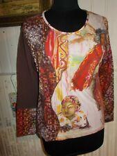Tee shirt coton marron stretch imprimé femmes AVENTURES DES TOILES 46
