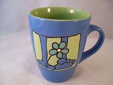 Stoneware Blue Coffee Mug Bare Footin' Flower Power Daisy Embossed Cute!