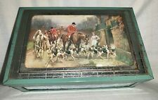 Vintage Wooden Metal Mirrored Jewelry Trinket Box Hunting Scene Horses Dogs USA
